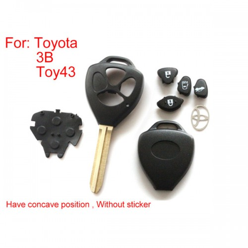 5pcs/lot Remote Key Shell 3 Button (Have Concave Position Without Sticker) for Toyota