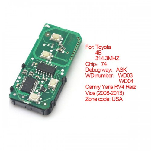 Smart card board 4 key 314.3 MHZ number 271451-3370-USA for Toyota