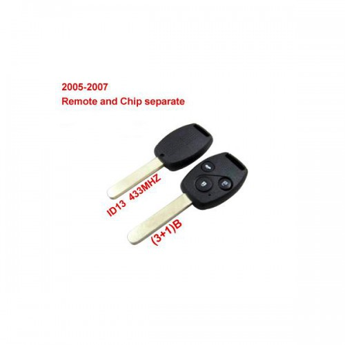 Remote Key (3+1) Button and Chip Separate ID:13 (433MHZ) For 2005-2007 Honda Fit ACCORD FIT CIVIC ODYSSEY