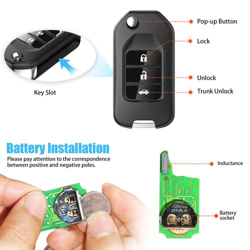 XHORSE XNHO00EN Wireless Universal Remote Key Fob 3 Buttons for Honda English Version