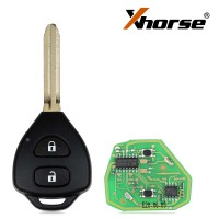 XHORSE XKTO05EN Wired Universal Remote Key Toyota Style Flat 2 Buttons for VVDI VVDI2 Key Tool English Version