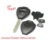 Remote Key Shell 2 Button TOY47 with Concave without Paper for Toyota Corolla 10pcs/lot