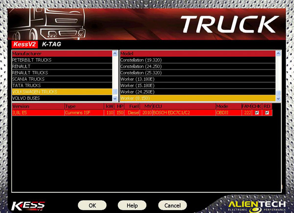 Truck Kess V2 software display 1