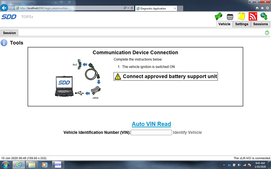 VXDIAG VCX SE JLR scanner read pin